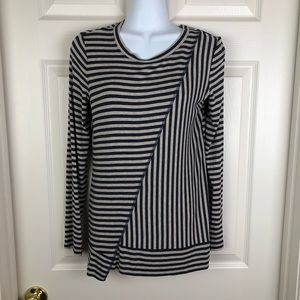 CAbi Ernest Striped Blue Gray Long Sleeve Top XS